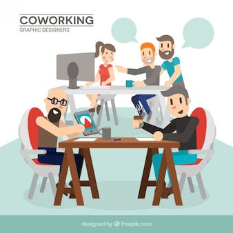 Os designers gráficos coworking