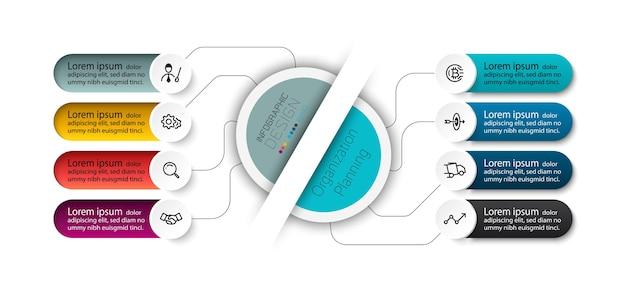 Os diagramas de círculo podem mostrar fluxos de trabalho ou organizações e segmentação de dados