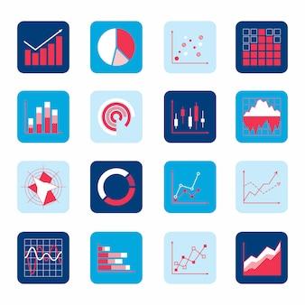 Os diagramas dos gráfico de setores circulares da barra do ponto dos elementos do negócio e os ícones dos gráficos ajustaram-se isolado.