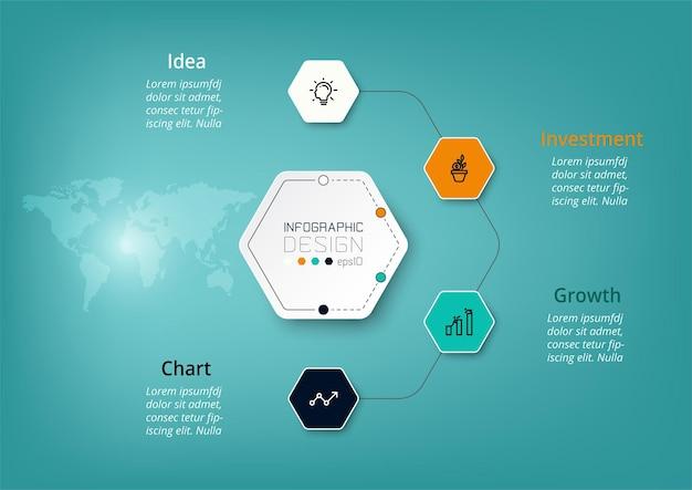 Os diagramas hexagonais ajudam a planejar seu trabalho e descrevem suas funções, operações, negócios, empresa, pesquisa, comunicação. infográfico.