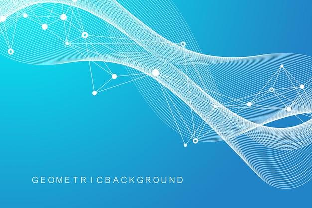 Os dígitos abstraem base com linha conectada e pontos, fluxo de onda. redes neurais digitais. plano de fundo de rede e conexão para sua apresentação. plano de fundo poligonal gráfico. ilustração vetorial.