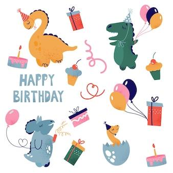 Os dinossauros comemoram seu aniversário. clipart em um fundo branco com personagens, presentes e cupcakes festivos.
