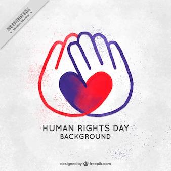 Os direitos humanos dia fundo das mãos com o coração pintado à mão