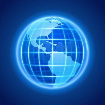 Os elementos abstratos da cenografia dos ícones da luz de néon da terra do globo para o infographics projetam.