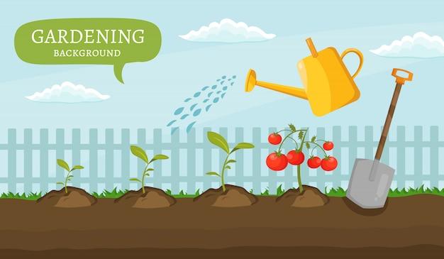 Os elementos coloridos dos projetos do jardim cultivam o grupo do ícone da ilustração de equipamento de jardinagem diferente.