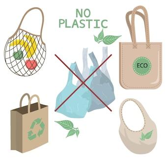 Os elementos da vida desperdiçada zero no vetor isolaram o fundo. estilo eco. sem plástico. coleta de itens ou produtos duráveis e reutilizáveis para o zero waste.
