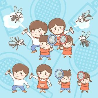 Os elementos de design dos desenhos animados bonitos da família estão brigando com mosquitos.