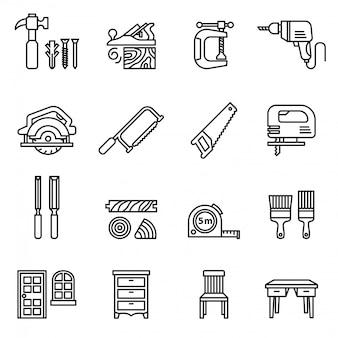 Os elementos do carpinteiro ou o ícone do carpinteiro ajustaram-se com fundo branco. vetor de estoque de estilo de linha fina.