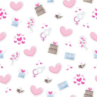 Os elementos do dia dos namorados abstraem base. conjunto de ícones de giro mão desenhada sobre o amor, isolado no fundo branco em delicados tons de cores. padrão feliz dia dos namorados