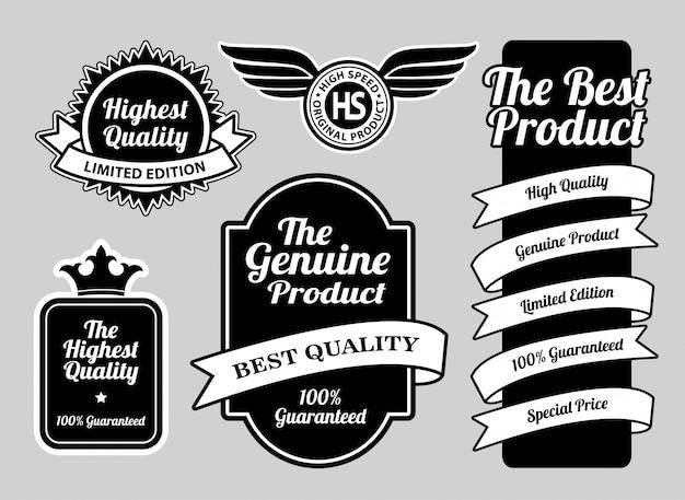 Os emblemas de etiqueta de qualidade mais alta.