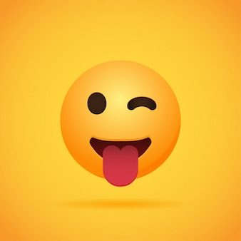 Os emojis de desenhos animados emoticon sorriem para mídias sociais em laranja. ilustração