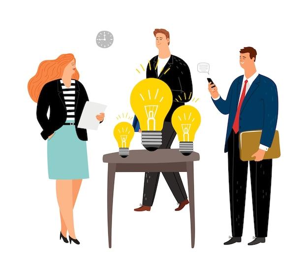 Os empresários escolhem ideias. equipe de negócios no escritório. brainstorm, dia de trabalho efetivo. personagens de desenhos animados planos