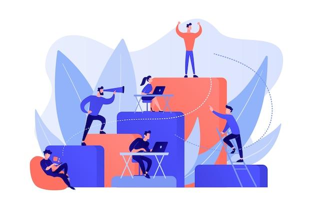 Os empresários trabalham e sobem na escada corporativa. hierarquia de empregos, planejamento de carreira, plano de carreira e conceito de crescimento em fundo branco.