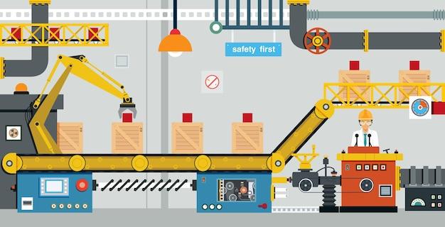 Os engenheiros estão controlando a produção da máquina industrial