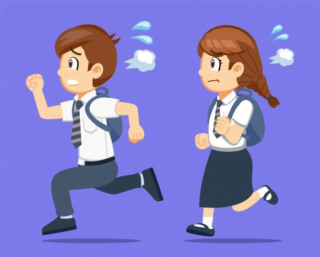 Os estudantes correm para a escola porque acordam tarde.