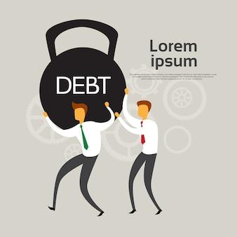 Os executivos mantêm o conceito da crise financeira do débito do peso