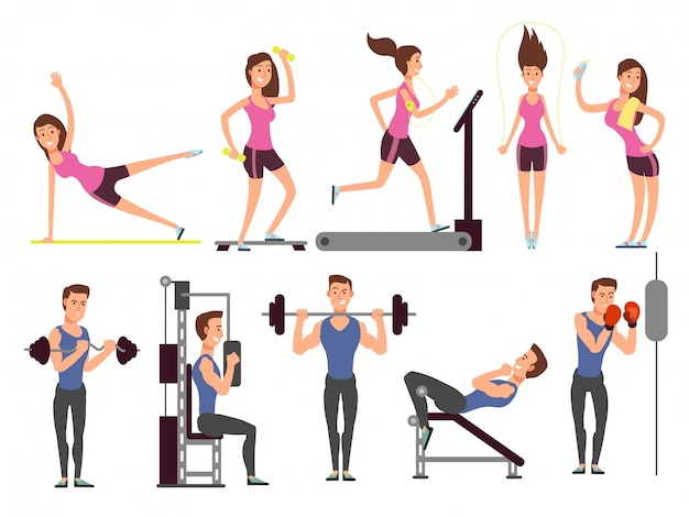 Os exercícios da ginástica, vetor do exercício da bomba do corpo ajustaram-se com caráteres do homem e da mulher do esporte dos desenhos animados. pessoas de fitness