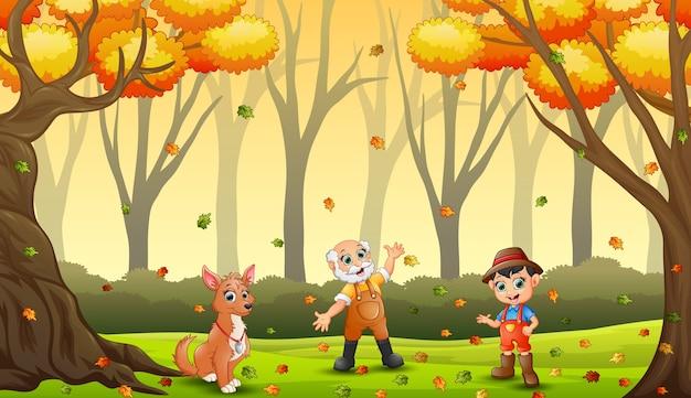 Os fazendeiros se divertindo com as folhas de outono