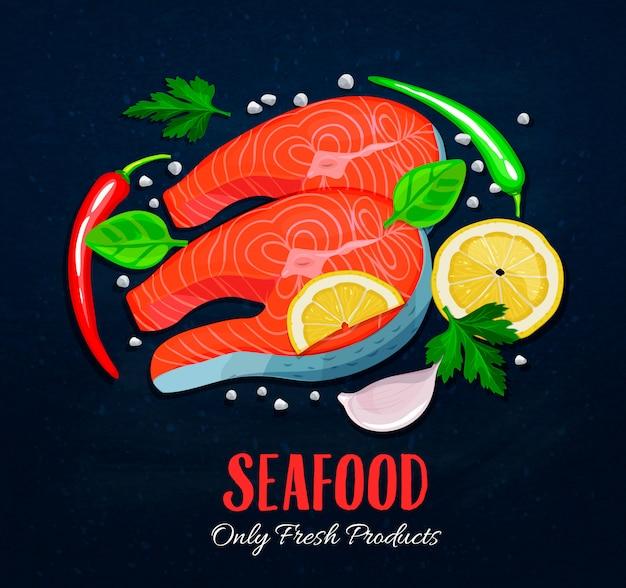 Os filés de peixe com legumes