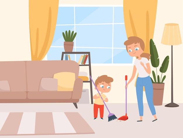 Os filhos do trabalho doméstico ajudam. crianças lavando sala de estar com pais limpando casa com personagens de desenhos animados de pai e mãe.