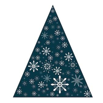 Os flocos de neve da árvore da neve abstraem o triângulo da árvore de natal com um elemento de decoração vetorial de flocos de neve recortado