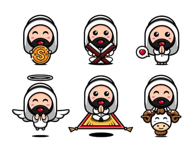 Os fofos muçulmanos temáticos interpretam uns aos outros. cartoon personagem islâmico