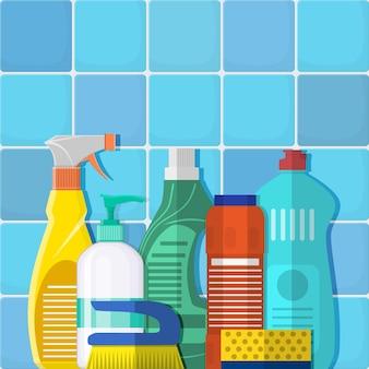 Os frascos de detergente, sabão em pó