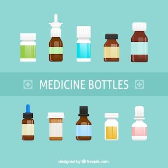 Os frascos de medicamentos
