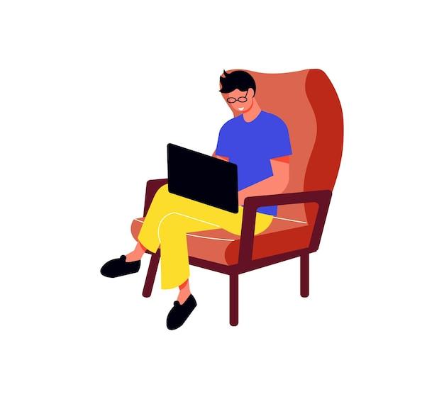 Os freelancers trabalham a composição com o personagem masculino freelancer sentado com o laptop na poltrona
