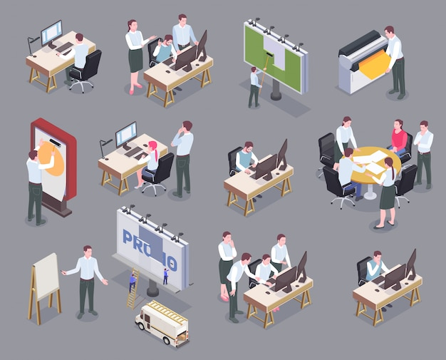 Os funcionários da agência de publicidade em seus locais de trabalho isométricos ícones conjunto isolados no fundo cinza 3d