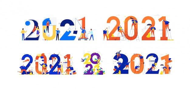 Os funcionários do escritório estão se preparando para comemorar o novo ano de 2021.. empresários se comunicam entre grandes números. ano novo são novos planos de negócios.
