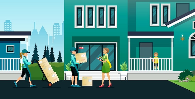 Os funcionários entregam produtos aos clientes em seus endereços com segurança