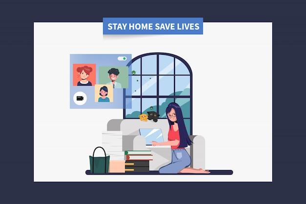 Os funcionários ficam em casa, evitando espalhar o coronavírus durante o covid-19. trabalhar em casa para uma vida segura.