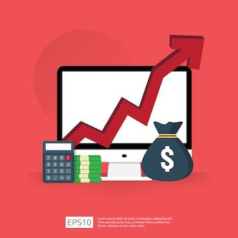 Os gastos com taxas de custo aumentam com a seta subindo no diagrama de crescimento. conceito de redução de dinheiro do negócio. progresso do crescimento do investimento com computador e calculadora