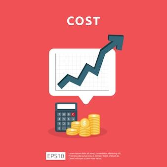 Os gastos com taxas de custo aumentam com a seta subindo no diagrama de crescimento. conceito de redução de dinheiro do negócio. progresso do crescimento do investimento com ilustração da calculadora.