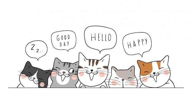 Os gatos bonitos do fundo da bandeira dizem o olá