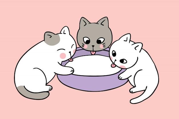 Os gatos bonitos dos desenhos animados bebem o vetor do leite.