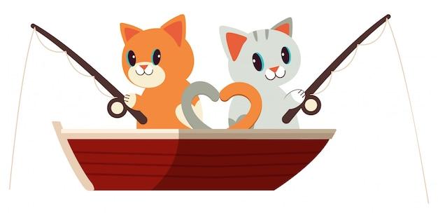 Os gatos bonitos que pescam no vermelho ambos.