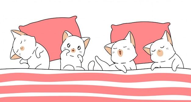 Os gatos de banner kawaii estão dormindo sob o cobertor