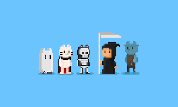 Os gatos do pixel vestem o caráter do traje halloween 8bit.