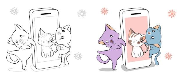 Os gatos estão curtindo a página para colorir de desenho animado de mídia social para crianças