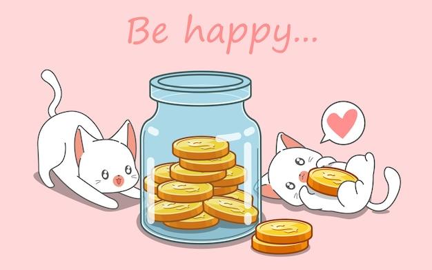 Os gatos estão economizando dinheiro.