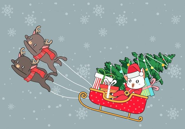 Os gatos kawaii do papai noel estão andando de trenó no dia de natal