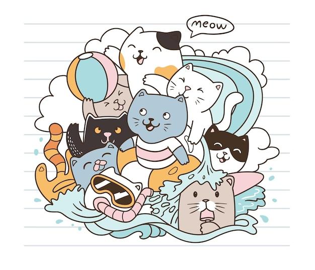 Os gatos se divertem na praia doodle arte