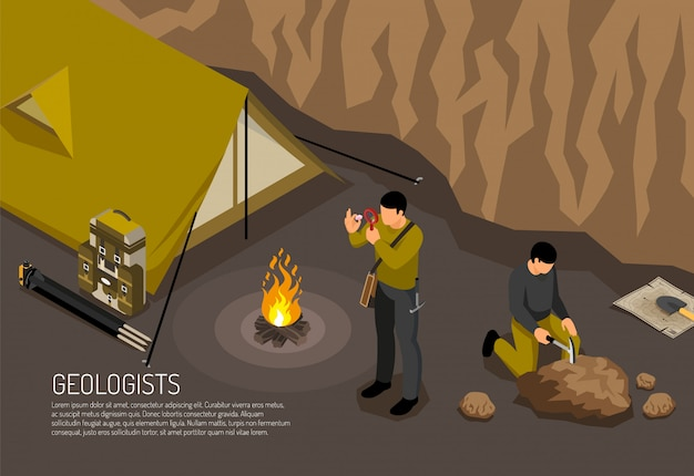 Os geólogos pesquisam a composição isométrica horizontal do acampamento de trabalho de campo com ilustração em vetor kit ferramentas de exploração de amostras de rochas de fogueira de barraca