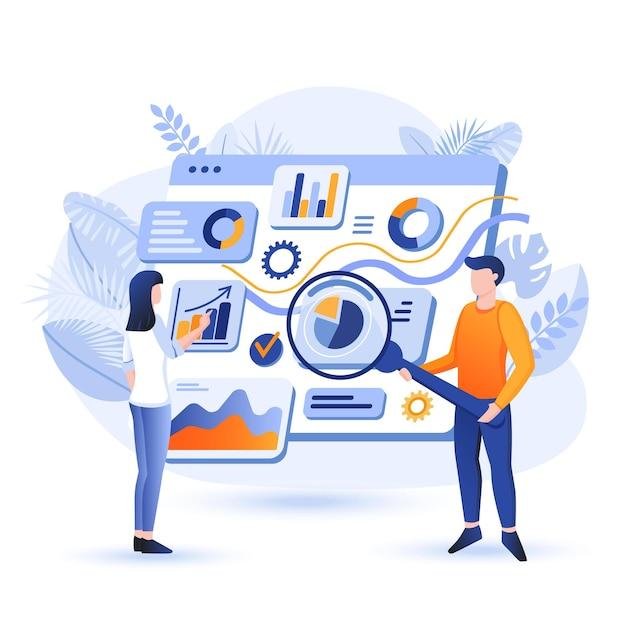 Os gerentes analisam a ilustração do conceito de design plano de dados