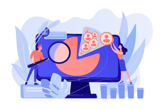 Os gerentes de mídia social trabalham com perfis e plataformas de mídia social. gestão de redes sociais, estratégia de smm da empresa, conceito de ferramenta de marketing digital. ilustração de vetor isolado de coral rosa