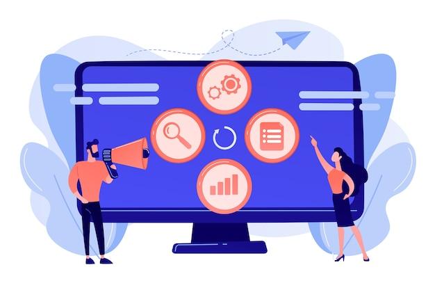 Os gerentes de pessoal minúsculos planejam e analisam a campanha. gestão de campanha de marketing, execução de estratégia de marketing, ilustração de conceito de controle de eficiência de campanha
