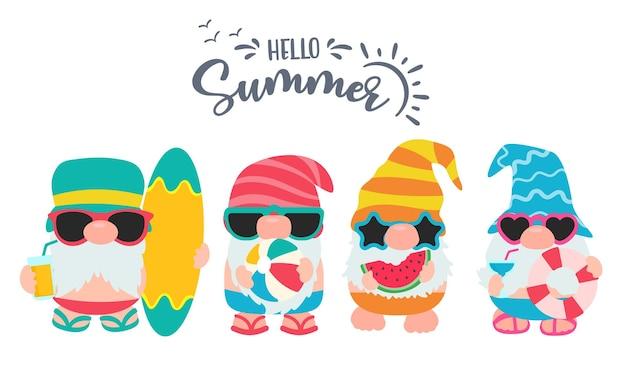 Os gnomos usam chapéus e óculos de sol nas viagens de verão à praia.
