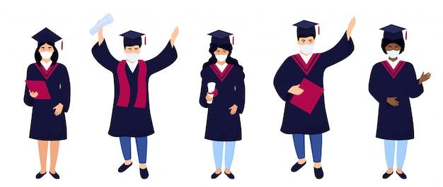 Os graduados em máscaras médicas protetoras comemoram a graduação 2020 durante a quarentena de coronavírus.